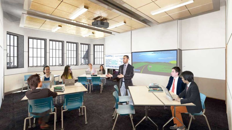 st george's school memorial schoolhouse classroom study rendering