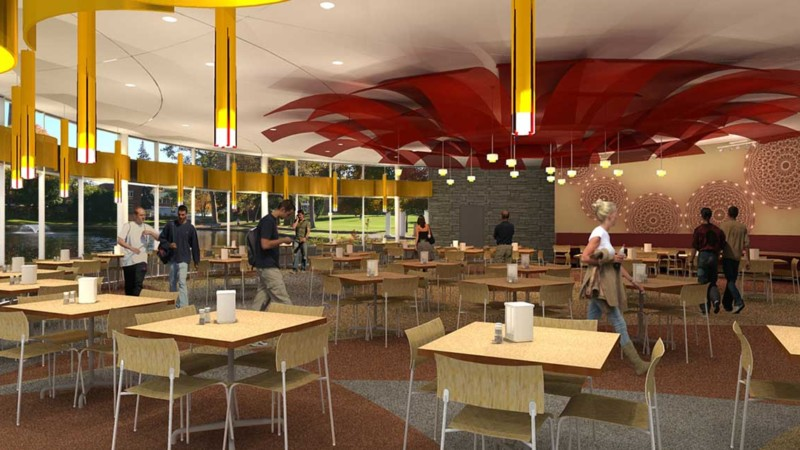 wheaton college design studies rendering of cafe seating interior